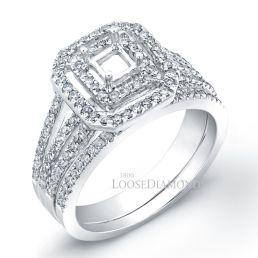 14k White Gold Modern Style Halo Tri-Shank Diamond Wedding Set