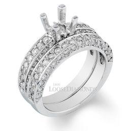 14k White Gold Classic Style 3-Row Diamond Wedding Set