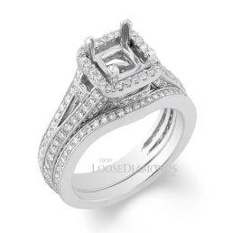 14k White Gold Vintage Style Split Shank Halo Diamond Wedding Set