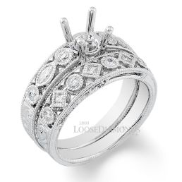 14k White Gold Vintage Style Engraved Diamond Wedding Set