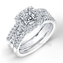 Platinum Modern Style Diamond Halo Double Prong Wedding Set