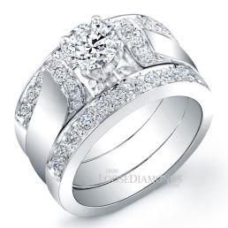 14k White Gold Art Deco Style Diamond Wedding Set