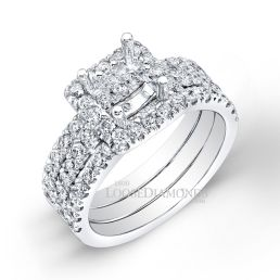 Platinum Modern Style Halo Diamond Wedding Set