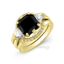 18k Yellow Gold Modern Style Diamond Wedding Set