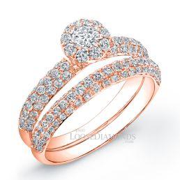 18k Rose Gold Classic Style Halo 3-Row Diamond Wedding Set