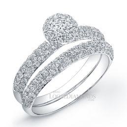 18k White Gold Classic Style Halo 3-Row Diamond Wedding Set