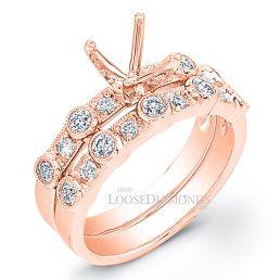 18k Rose Gold Vintage Style Diamond Wedding Set
