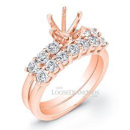 18k Rose Gold Classic Style Diamond Wedding Set