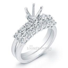 18k White Gold Classic Style Diamond Wedding Set