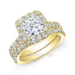 18k Yellow Gold Modern Style Halo Diamond Wedding Set