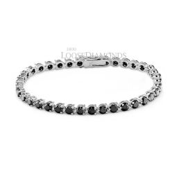 14k White Gold Classic Style Black Diamond Tennis Bracelet