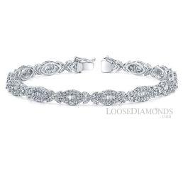 14k White Gold Modern Style Diamond Bracelet