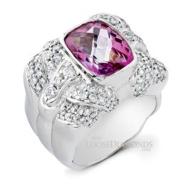 14k White Gold Classic Style Diamond & Pink Topaz Cocktail Ring