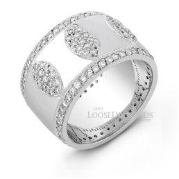 14k White Gold Modern Style Engraved Diamond Cocktail Ring
