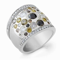 14k White Gold Art Deco Style Engraved Fancy Color Diamond Cocktail Ring