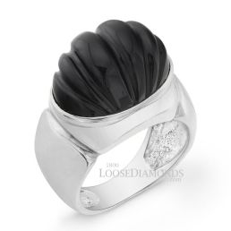 14k White Gold Vintage Style Onyx Cocktail Ring