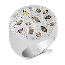 14k White Gold Multi-Color Diamond Cocktail Ring