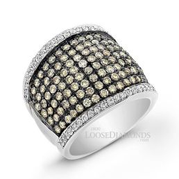 14k White Gold Modern Style White & Cognac Diamond Cocktail Ring