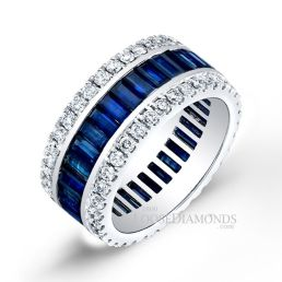 14k White Gold Classic Style Sapphire & Diamond Cocktail Ring