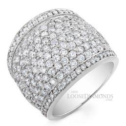 14k White Gold Modern Style Round Diamond Cocktail Ring