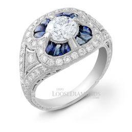 14k White Gold Art Deco Style Diamond & Sapphire Cocktail Ring