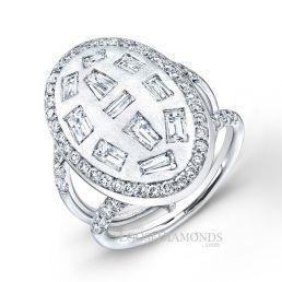 14k White Gold Art Deco Style Baguette Diamond Cocktail Ring