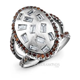 14k White Gold Art Deco Style Baguette & Cognac Diamond Cocktail Ring