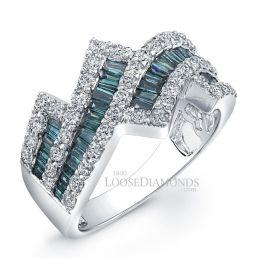 14k White Gold Modern Style White & Blue Diamond Cocktail Ring