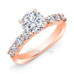 18k Rose Gold Euro Shank Diamond Engagement Ring