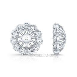 14k White Gold Modern Style Diamond Halo Earring Jackets