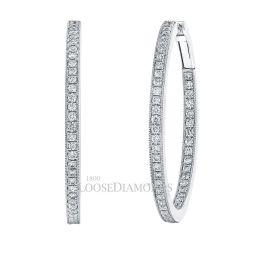 14k White Gold Inside-Out Hoop Diamond Earrings