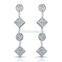 14k White Gold Dangling Multi Shape Diamond Earrings