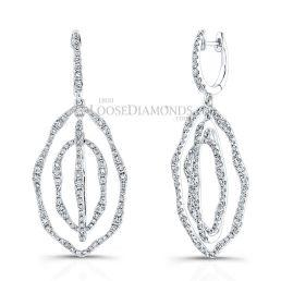 14k White Gold Round Diamond Chandelier Earrings
