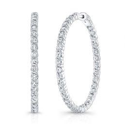 14k White Gold Diamond Hoop Earrings, Prong Set