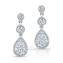 14k White Gold Classic Style Engraved Diamond Halo Earrings