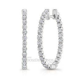 14k White Gold Rose Gold Diamond Hoop Earrings