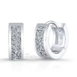 14k White Gold Modern Style Diamond Hoop Earrings