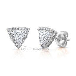 14k White Gold Geometric Style Triangle Halo Diamond Earrings