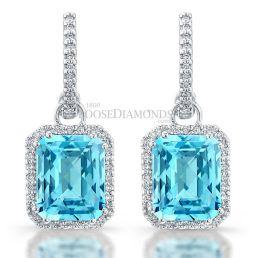 14k White Gold Modern Style Sky Blue Topaz Diamond Earrings