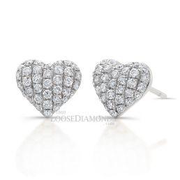 14k White Gold Heart Shape Diamond Earrings