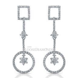 14k White Gold Art Deco Style Diamond Earrings