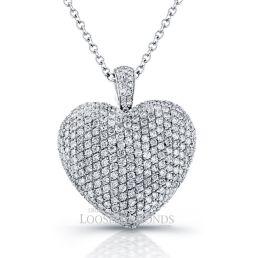 14k White Gold Classic Style Diamond Heart Shape Pendant