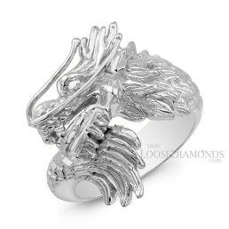 14k White Gold Men's Gold Mizuchi Dragon Ring