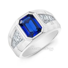 14k White Gold Men's Sapphire and Diamond Wedding Ring