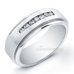 14k White Gold Men's Matte Finished Round Diamond Ring
