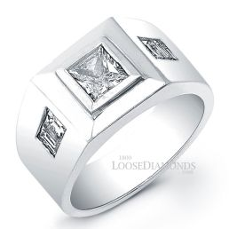 14k White Gold Men's Modern Style Diamond Engagement Ring