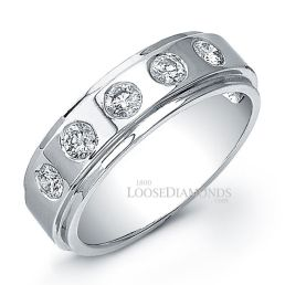 14k White Gold Men's Modern Style Wedding Diamond Band
