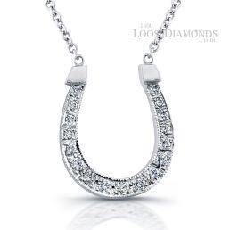 14k White Gold Classic Style Diamond Horseshoe Pendant & Necklace