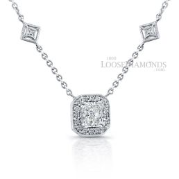 14k White Gold Modern Style Halo Diamond Pendant & Diamond Necklace