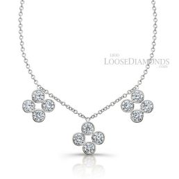 14k White Gold Classic Style Floral Style Diamond Necklace